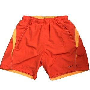 Nike orange cargo swim shorts
